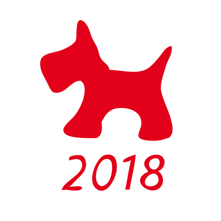 A picture of a dog. Schematic representation of red dog on white background as a symbol of the new 2018. Vector illustration.