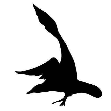 Black silhouette of a flying Seagull. The bird flies and spreads its wings. Vector illustration.