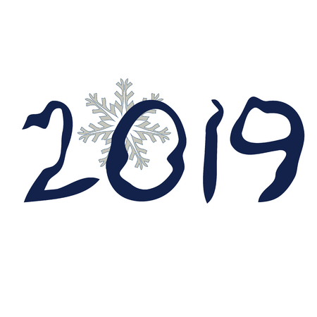 The basis for the postcards for the new year.  Snowflake and date (2019) as symbols of the new year. Vector illustration. Иллюстрация