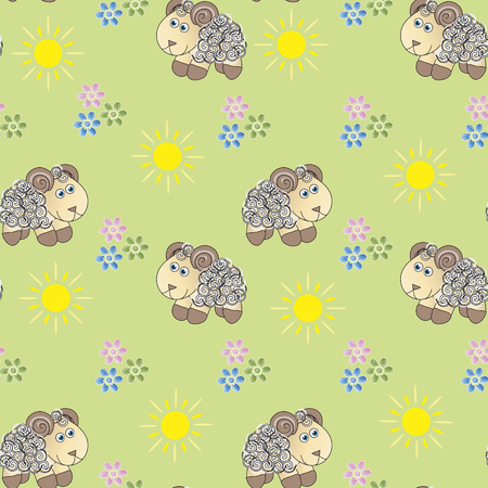 Children background. Seamless baby pattern which consists of cute little lambs, flowers and yellow suns on green background.Vector illustration.