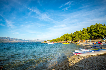 watersport: Calm beach and watersport equipment in Croatia. Editorial