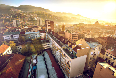 View at Sarajevo streets and buildings from high viewpoint photo