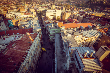 sarajevo: View at Sarajevo streets and buildings from high viewpoint