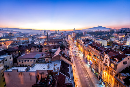 View at Sarajevo streets from above at dusk Stock Photo