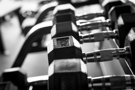 kettle bell: Row of Dumbbells in fitness facility.