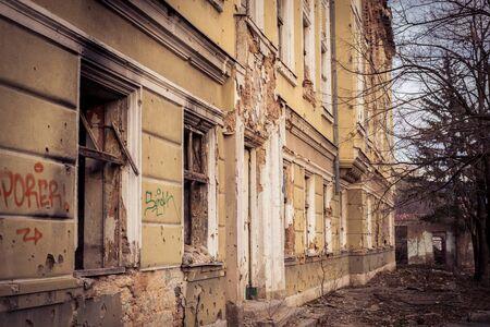 gunfire: Ruins in Sarajevo millitary baracks