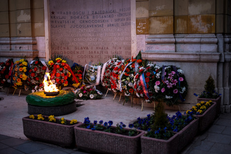 partisan: Flowers at independence day celebration and commemoration in sarajevo