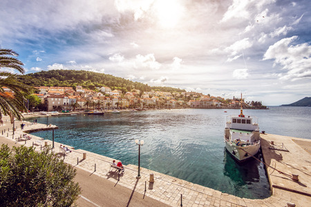 Korcula city and riva by the sea