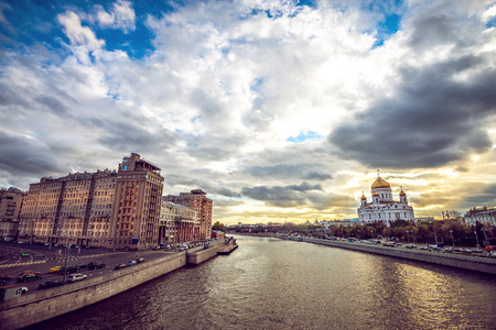 brige: View from brige over river to Temple of Christ Savior in Moscow, Russia