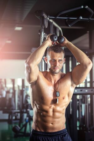 tricep: Young adult bodybuilder doing triceps overhead extension rope exercise Stock Photo