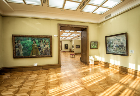 depository: MOSCOW, RUSSIA - OCTOBER 1, 2015: State Tretyakov Gallery is an art gallery in Moscow, Russia, and is the foremost depository of Russian fine art in world. Gallerys history starts in 1856. Toned image. Editorial