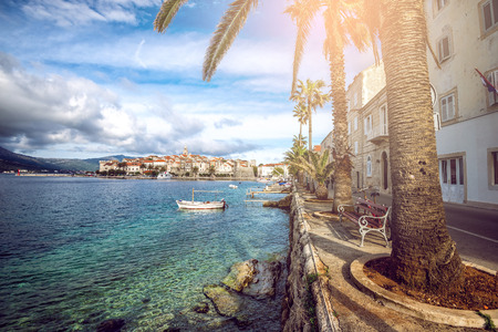 View of Korcula old town on Korcula island at Adriatic sea, Croatia