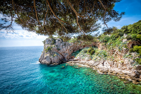 crystal clear: View of Dubrovnik, Croatia coasline. Bay and crystal clear water of Adriatic Sea.