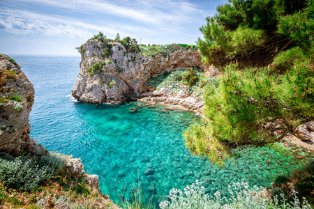 adriatic sea: View of Dubrovnik, Croatia coasline. Bay and crystal clear water of Adriatic Sea.