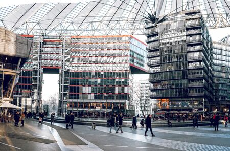 magnificence: Berlin, Germany - January 22, 2017. The Sony Center at Potsdamer Platz of Berlin. Located in the Mitte district and is an attraction for tourists from around the world. Toned image.
