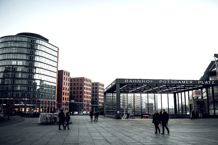magnificence: Berlin, Germany - January 22, 2017. The Potsdamer Platz is one of the most important places of Berlin. Located in the Mitte district and is an attraction for tourists from around the world. Toned image. Editorial