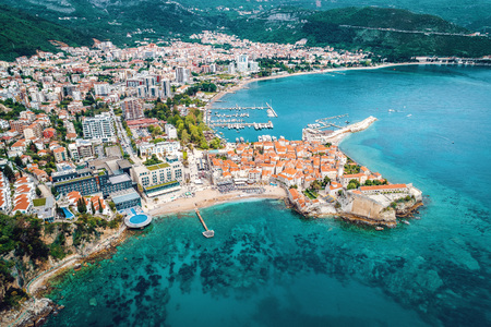 Old town in Budva in a beautiful summer day, Montenegro. Aerial image. Top view.