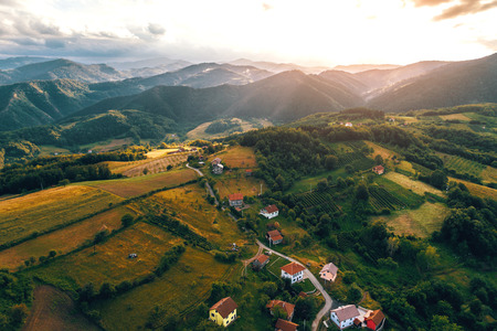 Mountain villages in Zepce municipality in Central Bosnia and Herzegovina. Toned image. Stock Photo