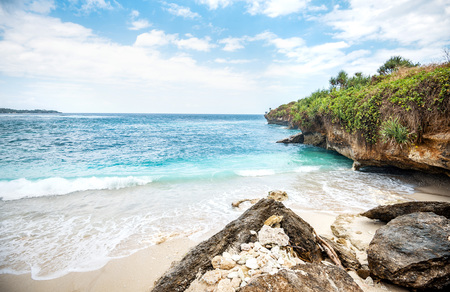 Beautiful Dream Beach on Nusa Lembongan island near Bali, Indonesia. Toned image. Standard-Bild - 115769466
