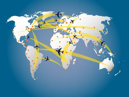 world map air traffic