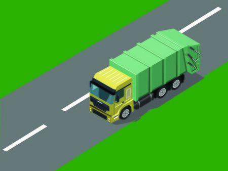 Green Truck on the road Ilustracja