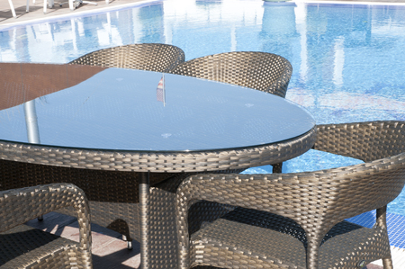 bronze wicker furniture sets by the pool