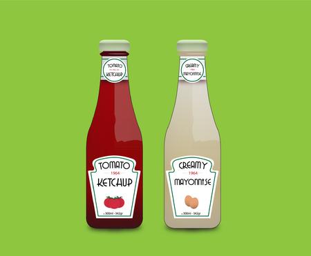 Realista salsa de tomate y mayonesa vectorial Ilustración de vector