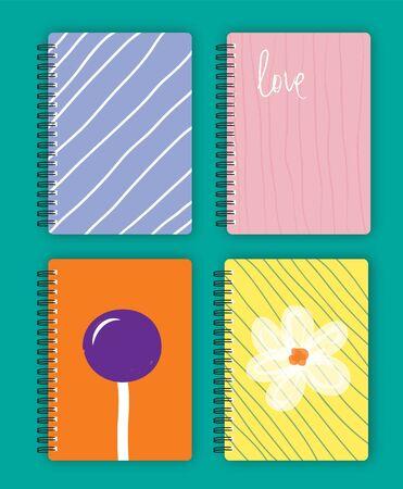 ring binder: Colorful Design Notebook Vector