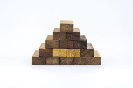 build in: Block stairs build in a pyramid shape  It is isolated on a white background