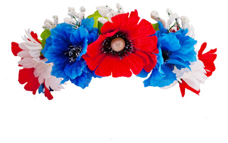 Ukrainian wreath of flowers of different colors isolated photo