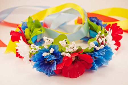 Ukrainian wreath of flowers with ribbons photo