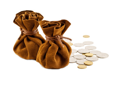vintage bag money on hand with coins isolated photo