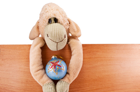 toy sheep beige sits on the board fence holding a Christmas toy isolated photo