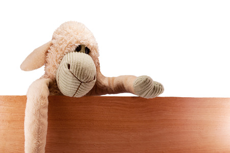 sits: toy sheep beige sits on the board fence keeps isolated Stock Photo