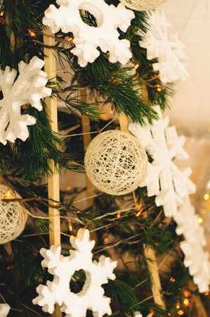 kinfolk: Christmas gifts under the tree ecological style Stock Photo