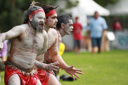SYDNEY, AUSTRALIA Ð NOVEMBER 19: Aboriginal dancers perform at the Official opening on the refurbished Audley Dance Hall at the Audley Weir in the Royal National Park on November 19, 2012 in Australia. Editorial