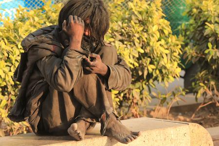 NEW DELHI, INDIA Ð MARCH 6:  Homeless man from New Delhi, India. Editorial