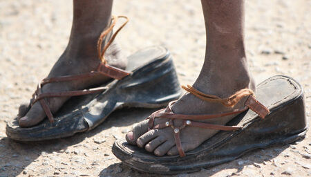 shoestrings: Big shoes to Fill Stock Photo