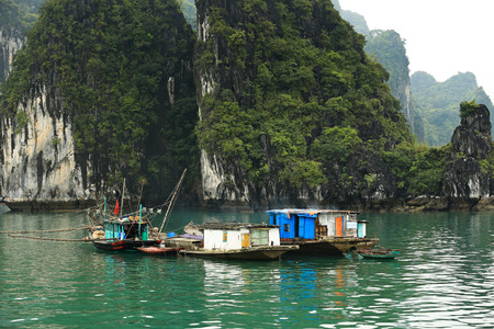 Floating Village in Halong Bay Vietnam photo