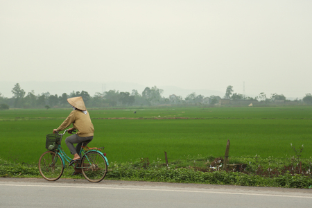 Riding Bicycle Along Green Field photo