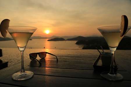 Cocktail at Sunset Stock Photo