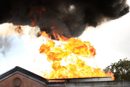 residential house: Residential House on Fire Stock Photo