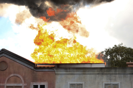 Residential House on Fire Stock Photo