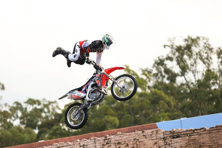 19's: Gold Coast, Australia – September 19, 2014: Motorcycle Making Jump in Air at Movieworld near Southport on Australia's Sunshine Coast