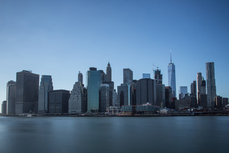 financial district: Manhattan financial district with skyscrapers over East River in New York City