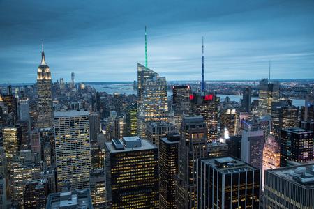 """NEW YORK€"""" - SEPTEMBER 26 2016: The New York City in the night taken from Rockefeller Center showing Empire State Building, Manhattan, September 26 2016. Editorial"""