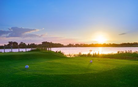 17th: Sunset over Murray Lagoon from the 17th tee at Rockhampton Golf Club