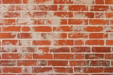 textured wall: A red rough brick wall with textured grey rendering and grout