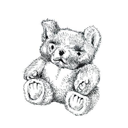 Little hairy teddy bear. Ink drawing.