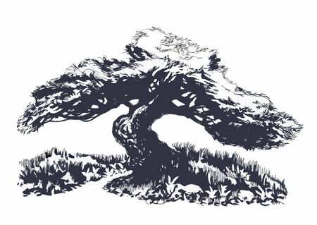 Lonely tree in the style of bonsai. Ink drawing. Stock fotó